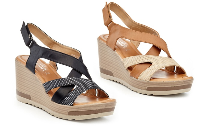 Womens Wedge Sandals Stretch Elastic Strappy High Heels Comfort Shoes Ladies