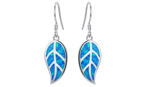 Blue Jelly Opal Inlay Leaf Drop Earrings by Gembassy