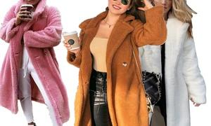 Manteau chaud femme en peluche