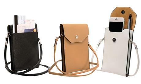 1 o 2 borselli con tracolla e chiusura magnetica per smartphone disponibili in vari colori