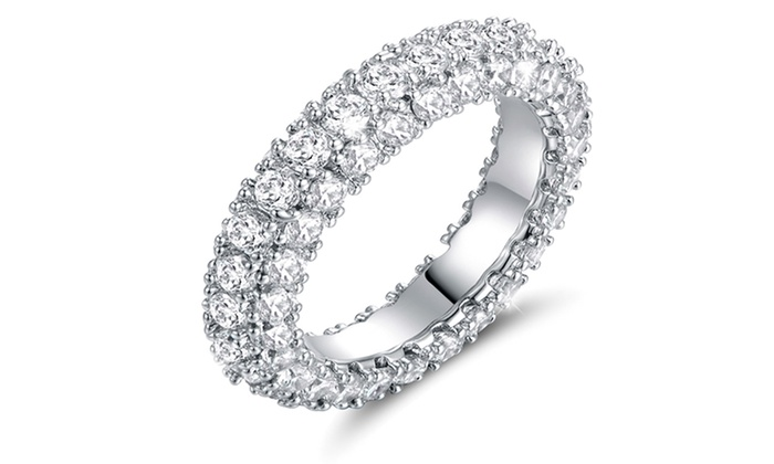 Cubic Zirconia 3 Row Eternity Ring in 18K White GoldPlating Groupon