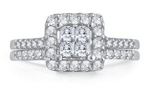 1.00 CTTW Princess Diamond Bridal Set in 10K White Gold