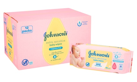 12Packs of Johnsons Extra Sensitive Baby Wipes, Total 672 Wipes