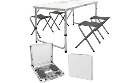 Set tavolo e 4 sgabelli pieghevoli con barbecue picnic valigetta e spazzola per barbecue