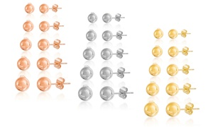 Nina & Grace 5-Pair Ball Stud Earring Set in Stainless Steel