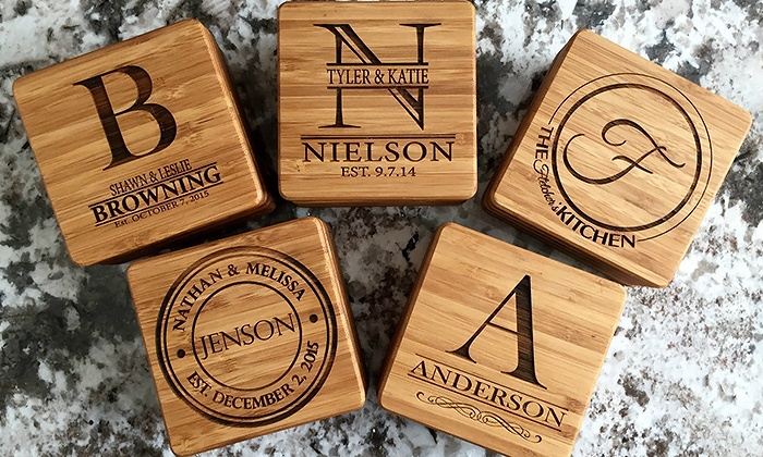 American Laser Crafts: One, Two, or Four Personalized Bamboo Coasters from American Laser Crafts (Up to 53% Off)
