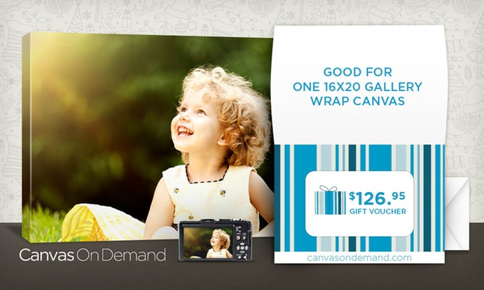 "Gift Voucher for a 16""x20"" Gallery-Wrapped Canvas from Canvas on Demand: $45 for a 16""x20"" Gallery-Wrapped Canvas Gift Voucher from Canvas on Demand ($126.95 List Price)"