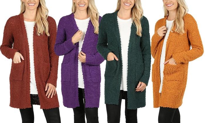 ecbb6fe11e8 Women s Popcorn Knit Cardigan Sweater