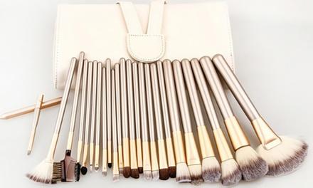 1 of 2 sets van 12 of 24 makeup kwasten in goud/champagne kleur