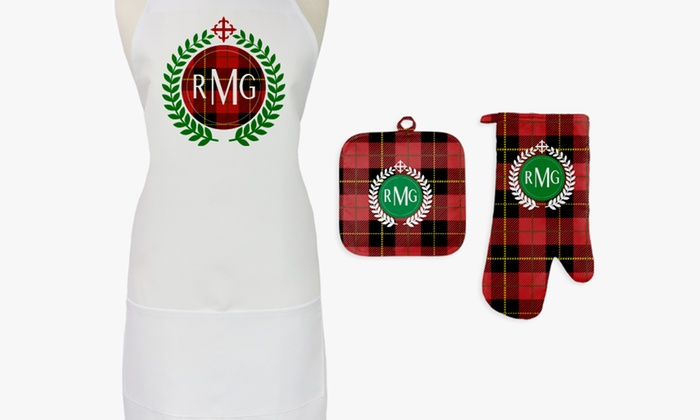 One or Two Sets of Personalized Aprons, Potholders, and Oven Mitts from Monogram Online (Up to 81% O...