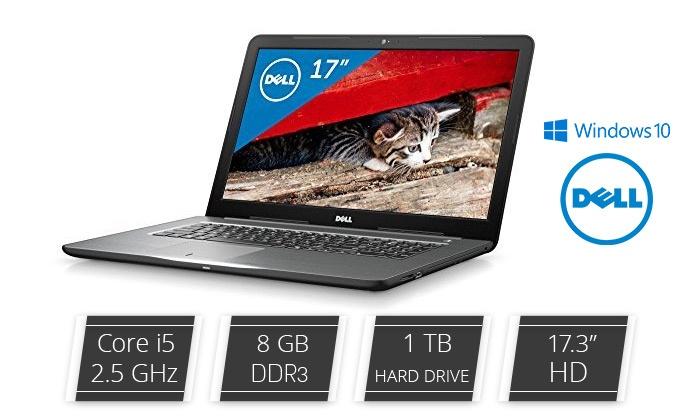 """ניוויז'ין דיגיטל בע""""מ - Merchandising (IL): מחשב נייד DELL עם מסך """"17.3, מעבד i5  דור שביעי, זיכרון 8GB, דיסק 1TB, מע' הפעלה WIN10 וחבילת אבזור מתנה!"""