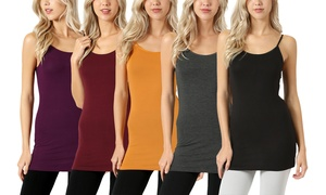 Women's Adjustable-Strap Cami Top (5-Pack)