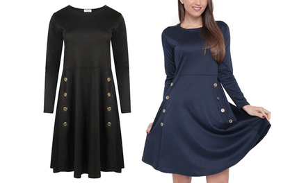 Button Skater Dress in Choice of Colour