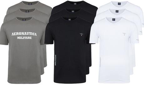 Pack de 3 camisetas Aeronautica Militare para hombre con cuello redondo o en V