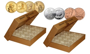 Direct-Fit Airtight Coin Capsule Holders with Box (50-Count)