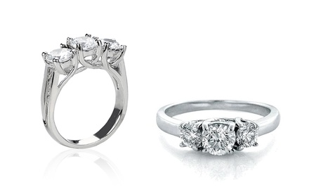 1/4-, 1/2-, or 1-Carat TW 3-Stone Diamond Rings in 10-Karat Gold from $199.99—$599.99