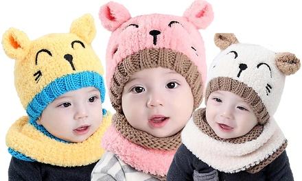 Set bonnet et écharpe chaudes ourson pour enfant
