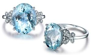 Bague cristal bleu clair