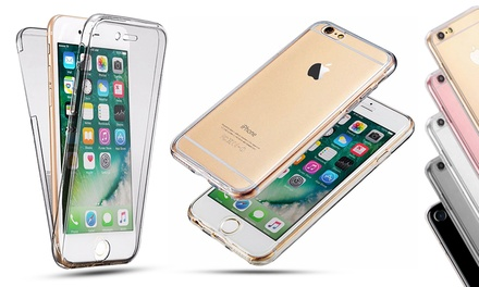 1 o 2 fundas doble de silicona transparente para iPhone 6, 6 Plus, 7 y 7 Plus