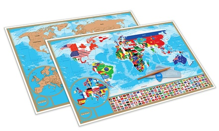 Scratch-Off World Map Poster with Detailed Australian States: One ($32) or Two ($59)