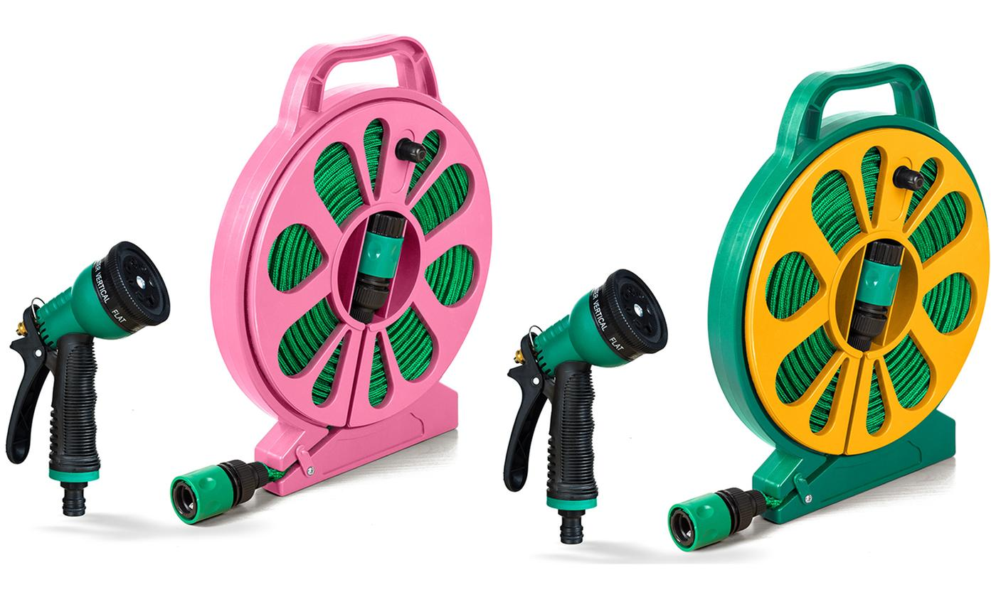 15m Kink-Free Garden Hose with Spray Gun