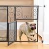 Adjustable Scroll-Design Metal Pet Gate with Door