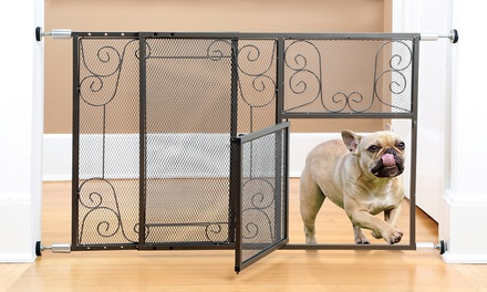 Adjustable Scroll-Design Metal Pet Gate with Door
