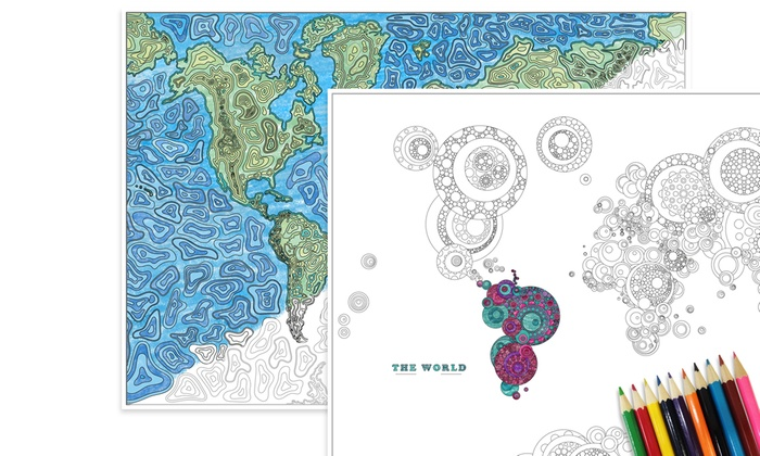 Mappa del mondo da colorare groupon goods - Mappa del mondo contorno ks2 ...