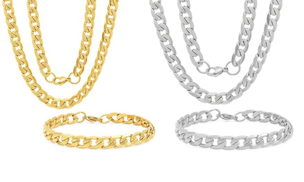 Steeltime Men's 8mm Stainless Steel Diamond Cut Cuban Link Chain Necklace and Bracelet