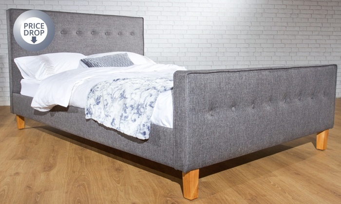 Verona fabric upholstered bed groupon goods for Beds groupon