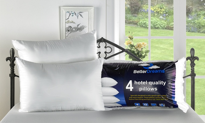 Four Hotel-Quality Non-Allergenic Fibre-Filled Pillows from £10