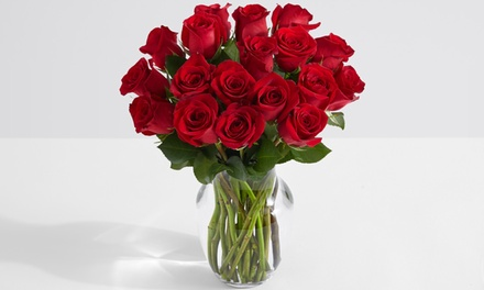 18, 24, or 36 Red Roses with Glass Ginger or Tulip Vase from ProFlowers (Up to 49% Off)