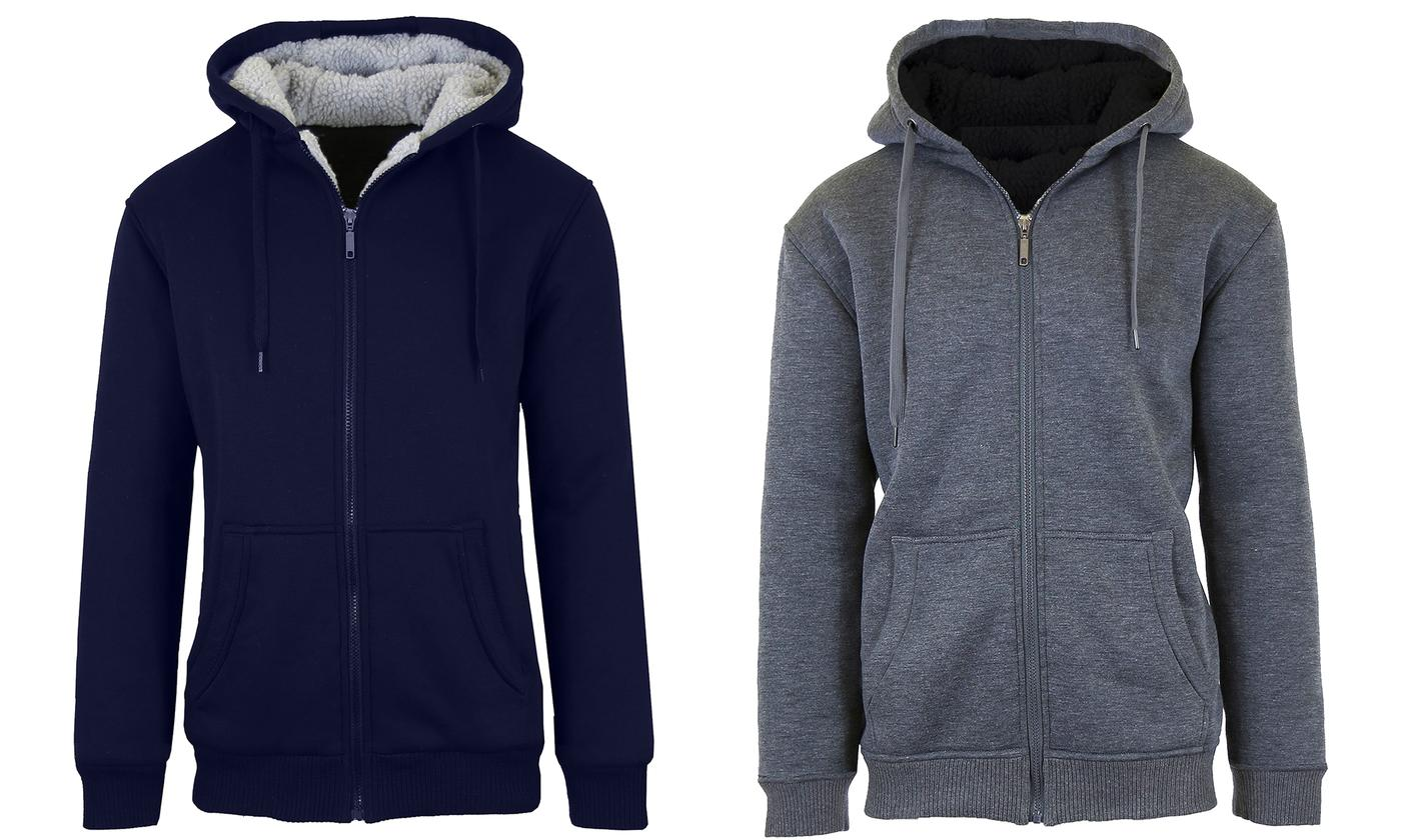 2-Pack Men's Heavyweight Sherpa Fleece-Lined Hoodie