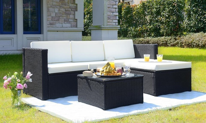 Three-Piece Rattan-Effect Corner Sofa Set