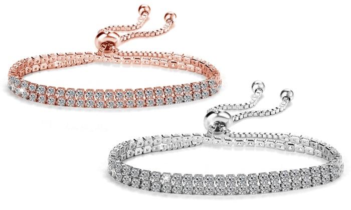 Philip Jones Silver Solitaire Friendship Bracelet with Crystals from Swarovski® kIW19i