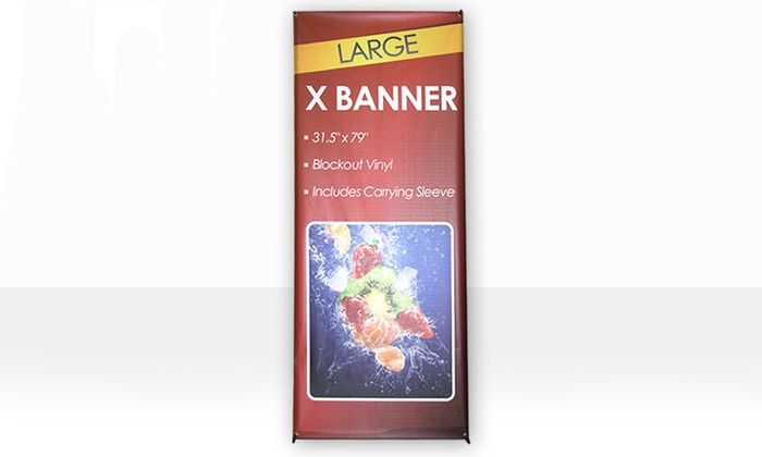 24 Banners - Edison: X Banner Stand, Customized Printing for an X Banner Stand, or Both at 24 Banners (Up to 51% Off)