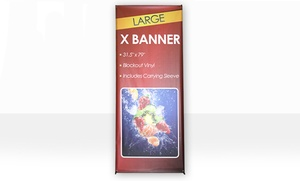 24 Banners: X Banner Stand, Customized Printing for an X Banner Stand, or Both at 24 Banners (Up to 51% Off)