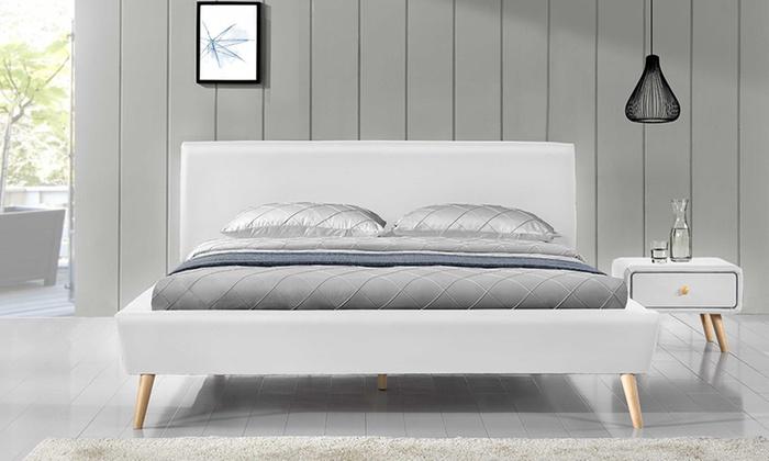 lit scandinave en simili cuir groupon shopping. Black Bedroom Furniture Sets. Home Design Ideas