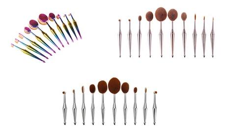 Metallic Oval Makeup Brush Set (10-Piece)