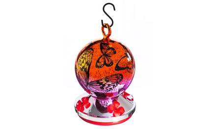 Vibrant Butterflies Blown-Glass Hummingbird Feeder