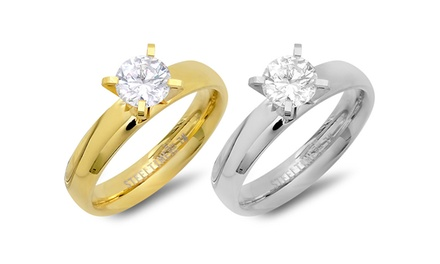 1.90 CTW CZ Engagement Ring in Silver Tone or 18K Gold Plated Stainless Steel