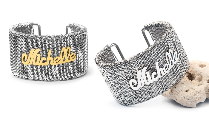 MonogramHub: Personalized Stainless Steel Wire Cuff Bangle from MonogramHub (Up to 80% Off)