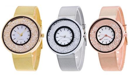 Montre de luxe strass quartz pour femme