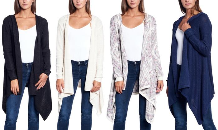 6e0d7804d2e Women's Oversized Open-Front Long-Sleeve Cardigan Sweater with Hood ...