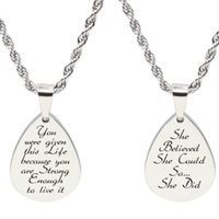 Deals on Pink Box Teardrop Inspirational Tag Necklace