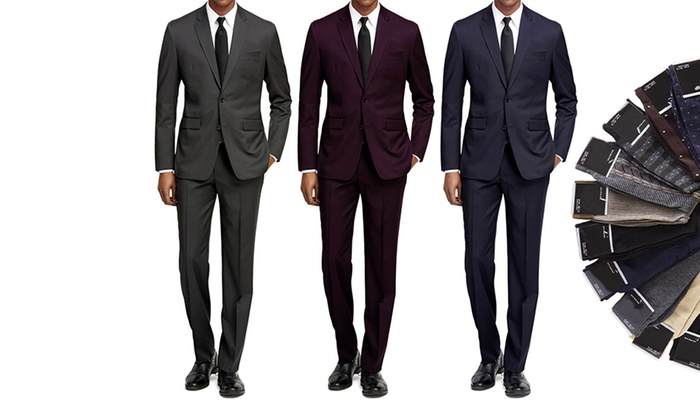 Braveman Men's Slim-Fit 2-Piece Suits with Free Socks