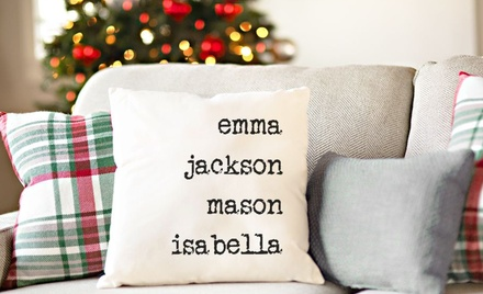 One or Two Personalized Family Name Throw Pillow Covers from Qualtry (Up to 77% Off)