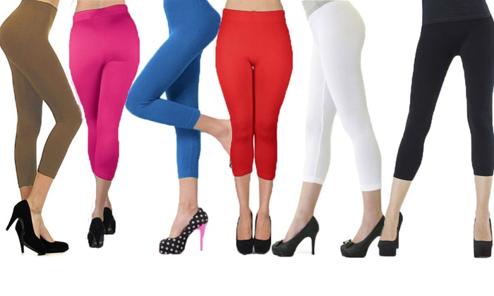 Women's Basic Capri Leggings (6-Pack) | Groupon