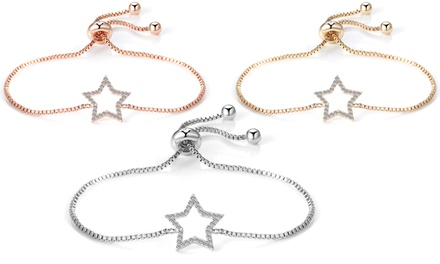 One, Two or Three Philip Jones Star Friendship Women's Bracelets with Crystals from Swarovski®
