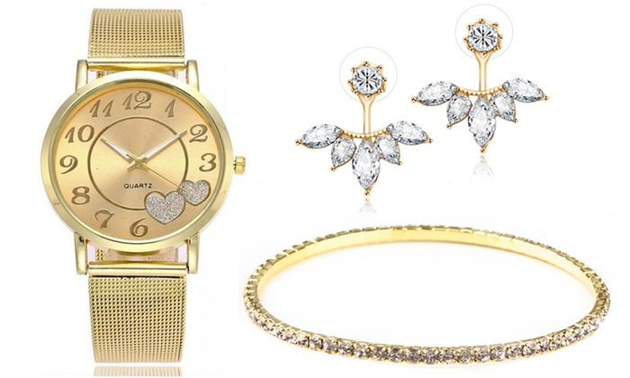 Groupon Goods Global GmbH: Heart of Gold Jewellery Set